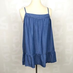 Chambray lyocell blue ruffled hem tank top xl NWOT